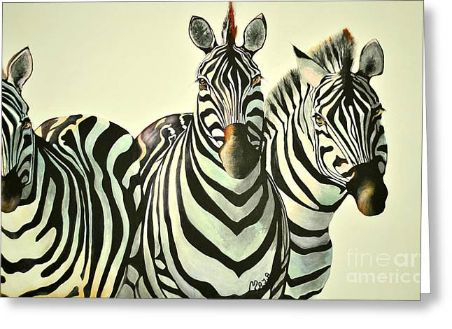 Colorful Zebras Painting Greeting Card