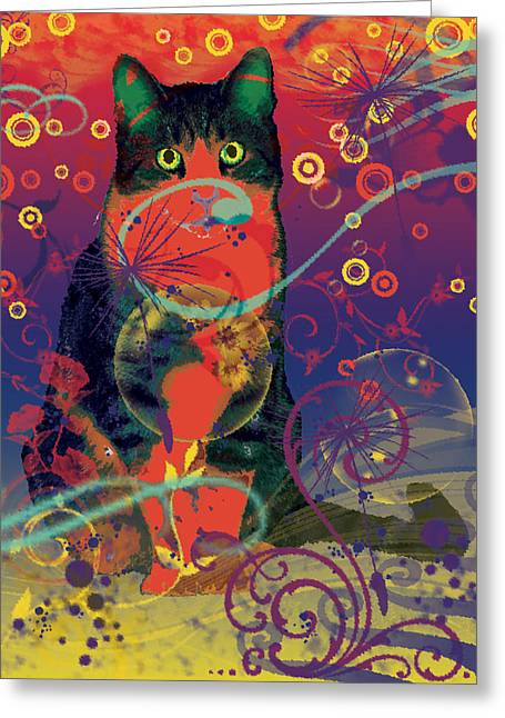 Colorfur Cat Greeting Card