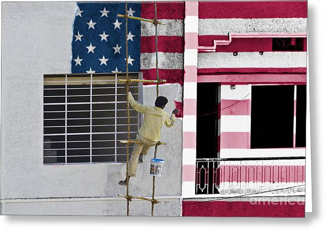 Coloring United States Flag Greeting Card by Image World