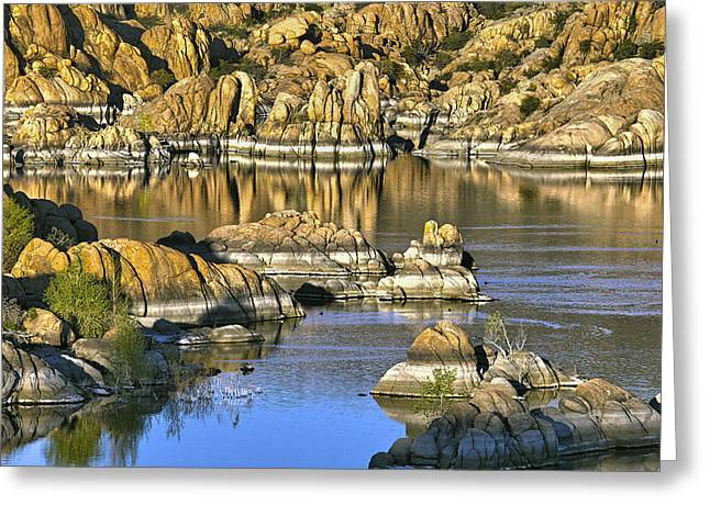 Colors In The Rocks At Watsons Lake Arizona Greeting Card by James Steele