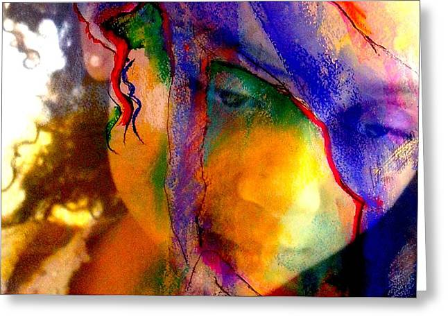 The Mask Greeting Card by Jodie Marie Anne Richardson Traugott          aka jm-ART
