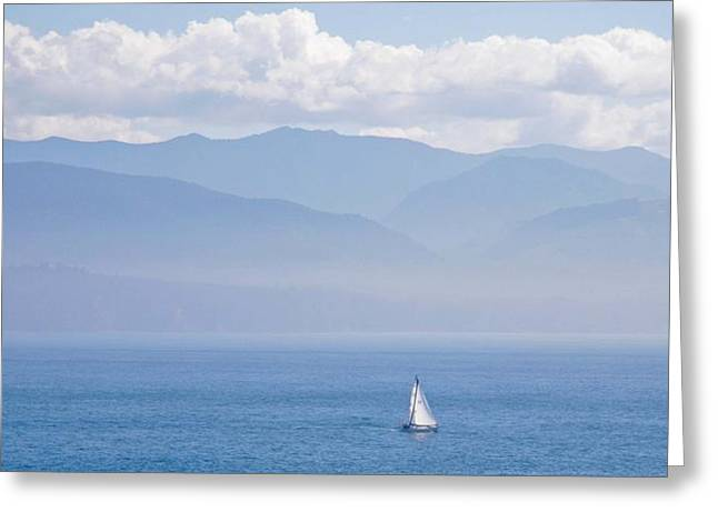 Colors Of Alaska - Sailboat And Blue Greeting Card
