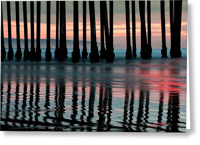 Greeting Card featuring the photograph Reflections Under The Pier - Pismo Beach California by Gregory Ballos