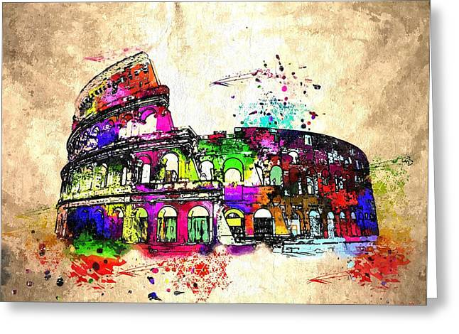 Colosseo Grunge  Greeting Card by Daniel Janda