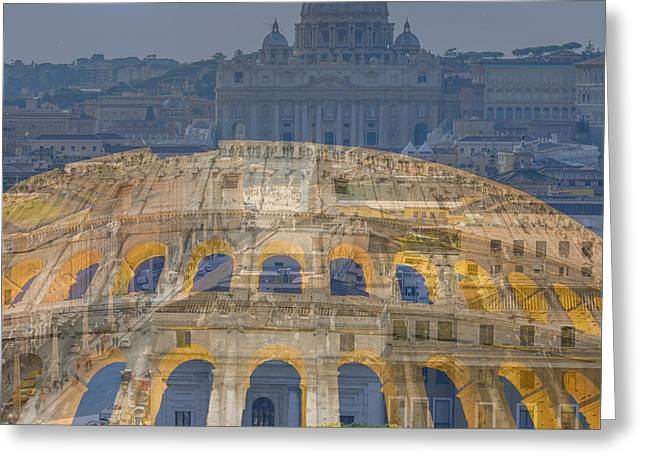 Colosseum And Vatican City Greeting Card by Mats Silvan