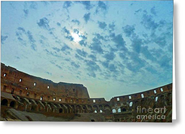 Greeting Card featuring the photograph Colosseum At Dusk - Rome by Cheryl Del Toro