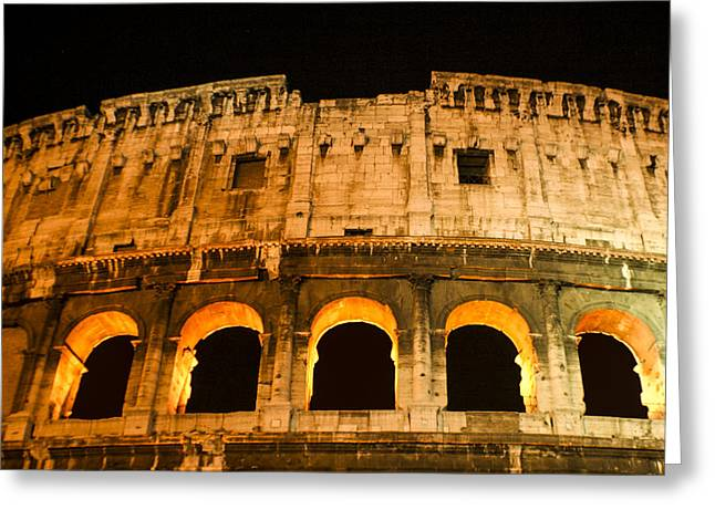 Greeting Card featuring the photograph Colosseum At Night by Rob Tullis