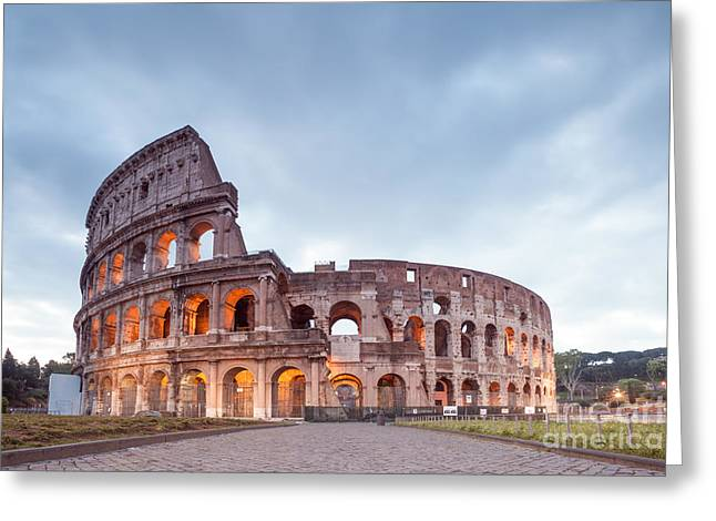 Colosseum At Sunrise Rome Italy Greeting Card