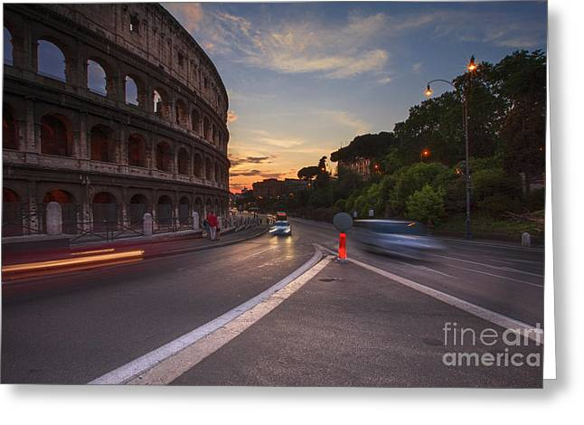 Colosseum At Sunset Greeting Card by Maria Feklistova