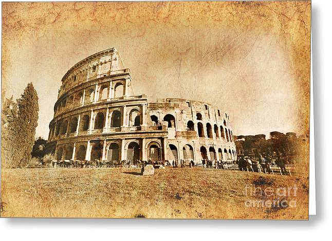 Colosseum Grunge Greeting Card by Stefano Senise
