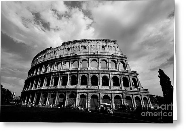 Colosseum In Black And White Greeting Card by Samantha Higgs