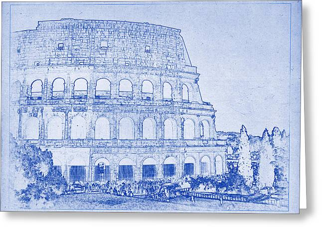 Colosseum Of Rome Blueprint Greeting Card by Kaleidoscopik Photography