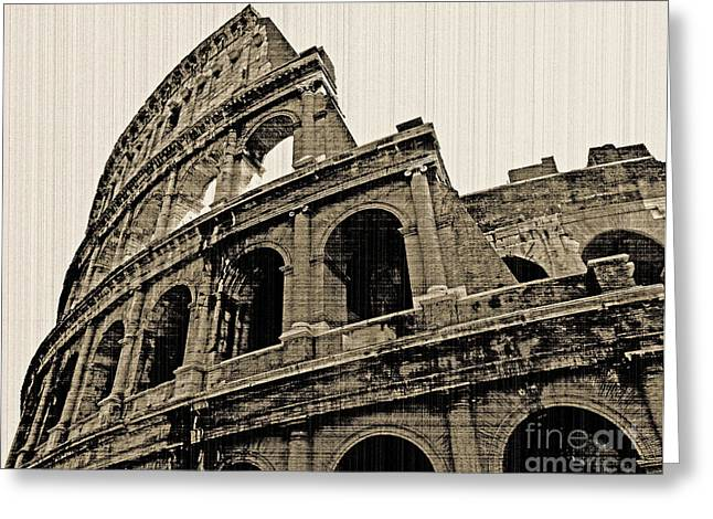 Greeting Card featuring the photograph Colosseum Rome - Old Photo Effect by Cheryl Del Toro