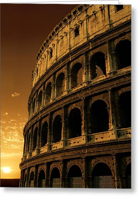Colosseum Sunrise Greeting Card by Ron Sumners