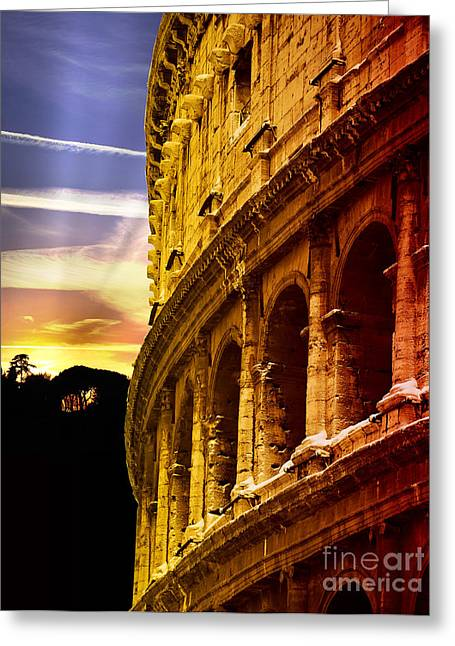 Colosseum Sunset Greeting Card by Stefano Senise