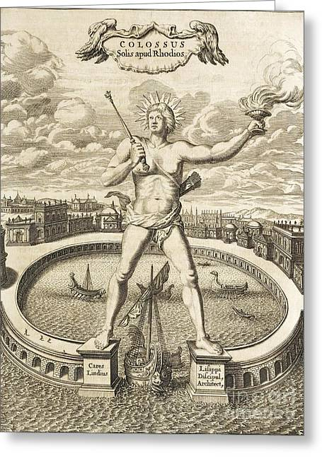 Colossus Of Rhodes, 17th-century Artwork Greeting Card by Asian And Middle Eastern Division