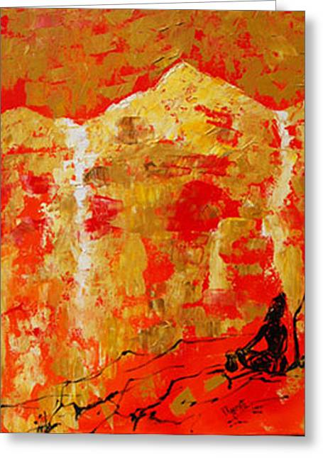 Greeting Card featuring the painting Colour Of Calm by Ragunath Venkatraman