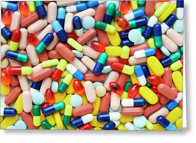 Coloured Capsules And Tablets Greeting Card