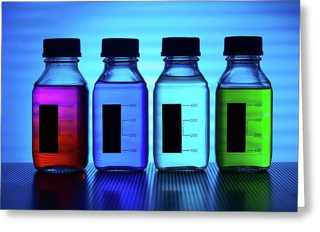 Coloured Liquids In Plastic Bottles Greeting Card by Wladimir Bulgar