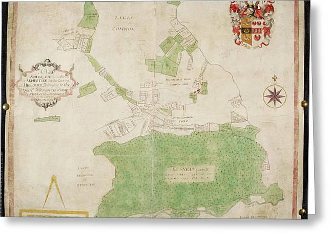 Coloured Map Of An Estate In Lower Lye Greeting Card by British Library
