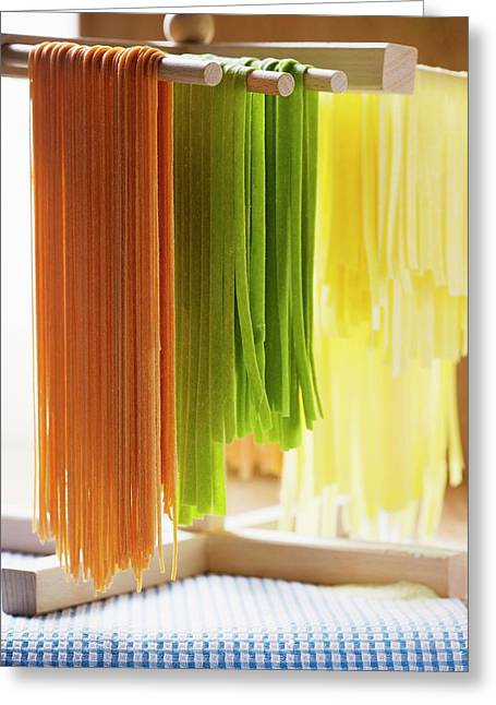 Coloured Pasta Hanging Up To Dry Greeting Card
