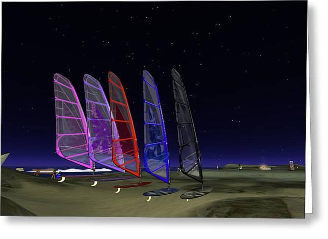 Greeting Card featuring the digital art Coloured Sails by Susanne Baumann