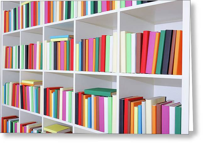 Colourful Books On A Bookcase Greeting Card