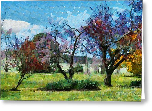 Greeting Card featuring the digital art Colourful Garden by Fran Woods