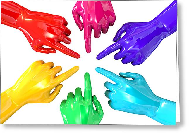 Colourful Hands Circle Pointing Inward Greeting Card by Allan Swart