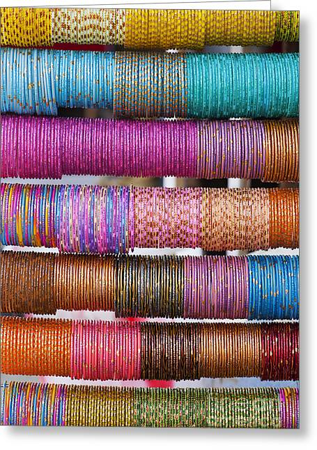 Colourful Indian Bangles Greeting Card by Tim Gainey