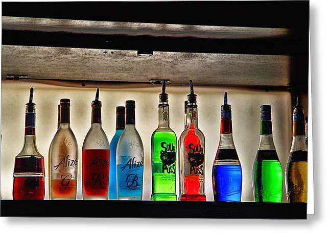 Colourful Liquors On A Bar Rack Greeting Card