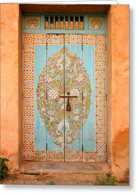 Colourful Moroccan Entrance Door Sale Rabat Morocco Greeting Card by Ralph A  Ledergerber-Photography
