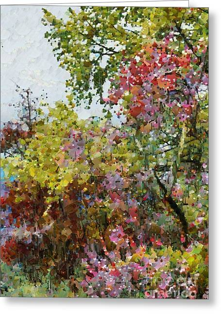 Greeting Card featuring the digital art Colourful Spring Garden by Fran Woods