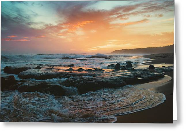 Colourful Sunset And Water Washing Greeting Card