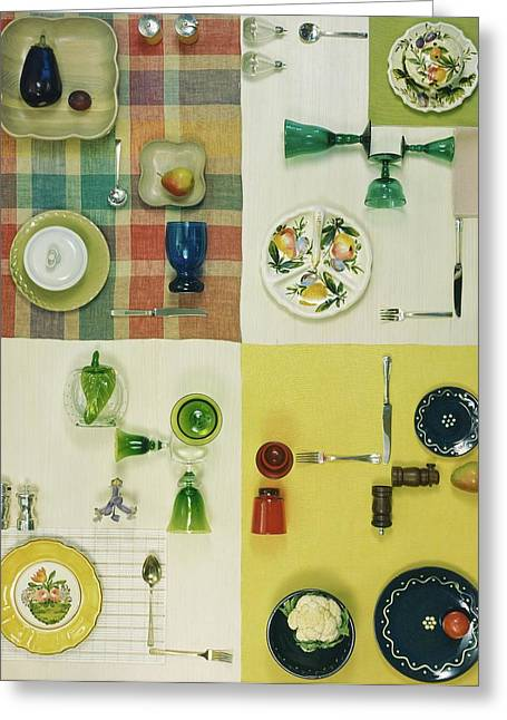 Colourful Table Settings Greeting Card