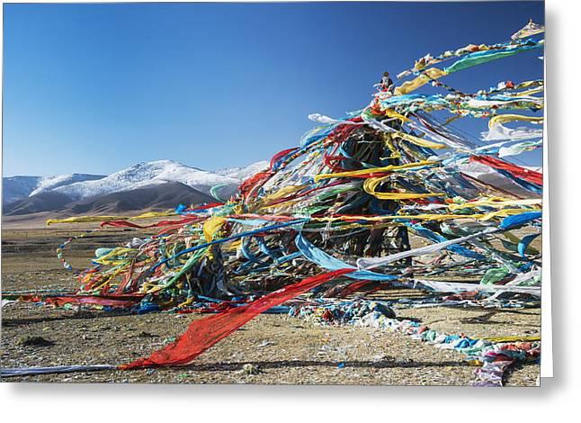 Colourful Tibetan Prayer Flags _lung Greeting Card