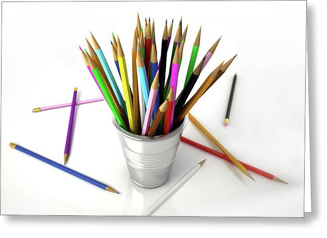Colouring Pencils In A Pot Greeting Card