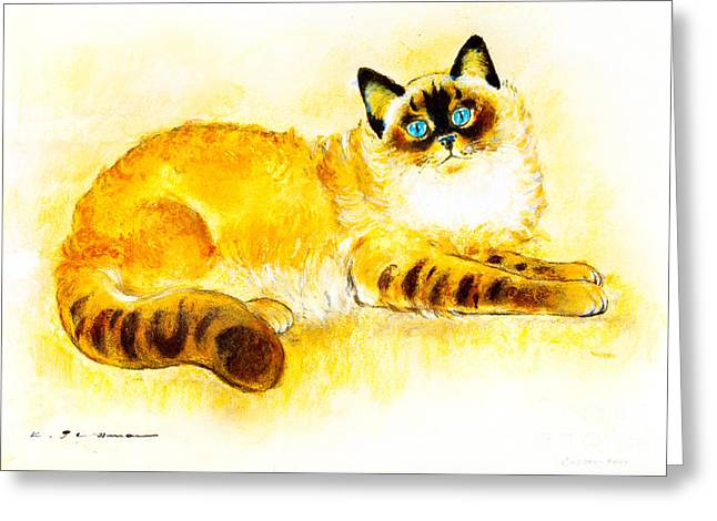 Colourpoint Cat Greeting Card by Kurt Tessmann