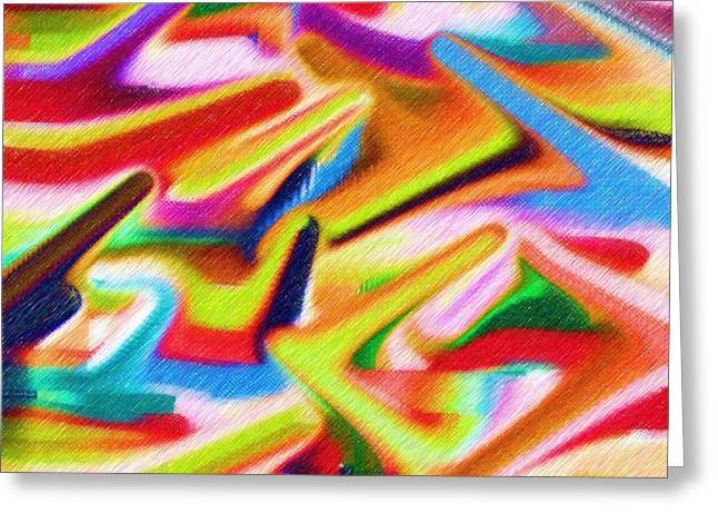 Colours In Flight Abstract Greeting Card by Alec Drake