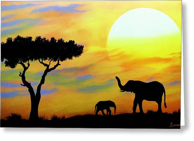 Colours Of Africa Greeting Card by Ismael Paint