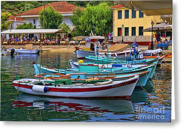 Colours Of Greece Greeting Card by Gillian Singleton