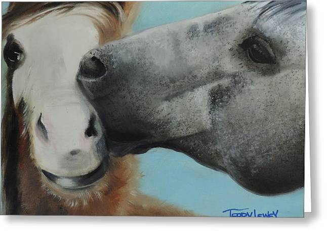Colt And Mom Greeting Card by Terry Lewey