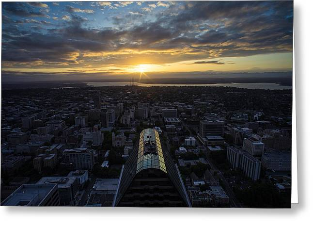 Columbia Center Sunrise Greeting Card by Mike Reid