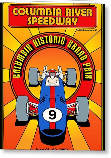 Columbia Historic Grand Prix Greeting Card by Georgia Fowler