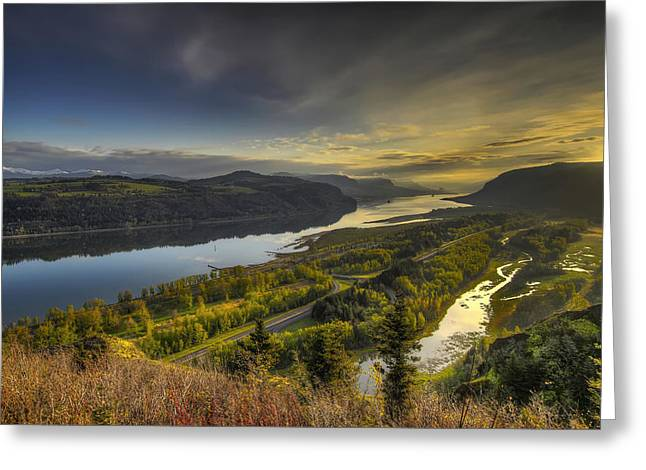 Columbia River Gorge At Sunrise Greeting Card