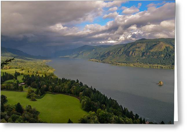 Columbia River Gorge Rain Clouds Greeting Card by Tristina Yarzombek