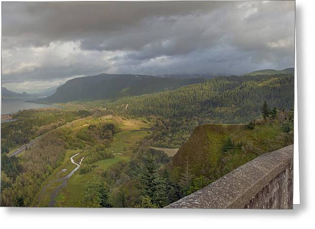 Greeting Card featuring the photograph Columbia River Gorge View From Crown Point by JPLDesigns