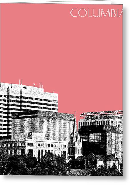 Columbia South Carolina Skyline 1 - Light Red Greeting Card by DB Artist