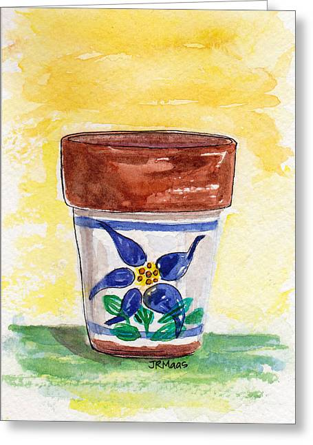 Greeting Card featuring the pastel Columbine Container by Julie Maas