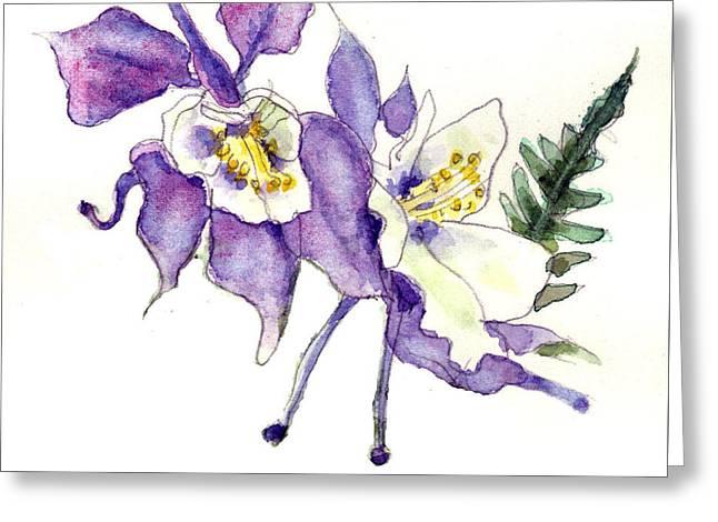 Columbine Flowers Art Greeting Card by Blenda Studio